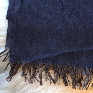 Accessories - Large Charcoal Purple Square Fringed Scarf Soft